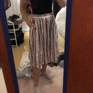 stripped midi skirt